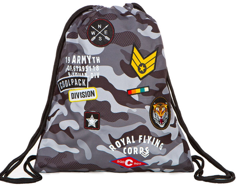 CoolPack - SPRINT Worek sportowy Camo Black Badges 73111