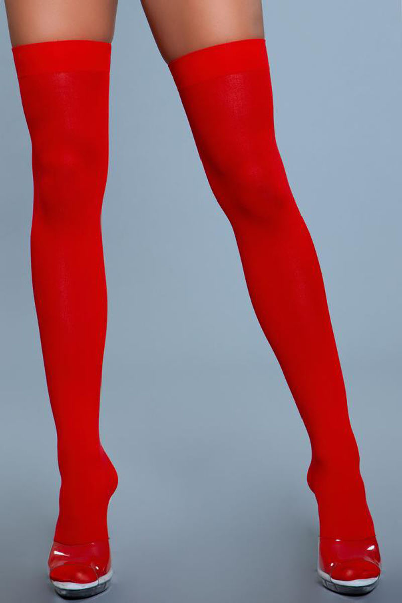 Be Wicked Thigh High Nylon Stockings Red