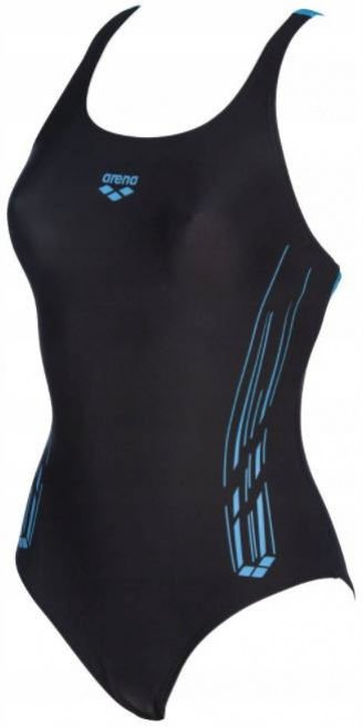 Arena stamps swim pro back one piece black/turquoise